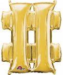 Mini Fólia lufi hashtag ikon, Gold 33 cm