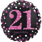 Happy Birthday 21 Fólia lufi 45 cm