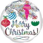 Merry Christmas, Boldog Karácsonyt Hologrammos Fólia lufi 45 cm