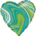 Blue Green Heart, Kék Zöld Szív Fólia lufi 43 cm