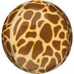Zsiráf mintás Gömb fólia lufi 40 cm