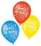 Happy Birthday léggömb, lufi 6 db-os (22,8 cm)