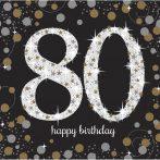 Happy Birthday 80 Gold szalvéta 16 db-os 33*33 cm