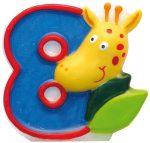Szafari tortagyertya, számgyertya 8-as