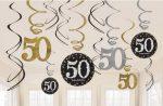 Happy Birthday 50 Szalag dekoráció 12 db-os szett