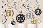 Happy Birthday 60 Szalag dekoráció 12 db-os szett