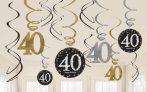 Happy Birthday 40 Szalag dekoráció 12 db-os szett