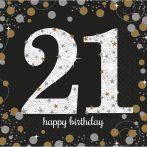 Happy Birthday 21 Gold szalvéta 16 db-os 33*33 cm