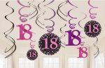 Happy Birthday 18 Szalag dekoráció 12 db-os szett