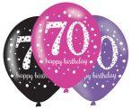 Happy Birthday 70 Pink léggömb, lufi 6 db-os