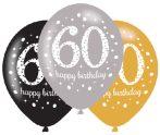 Happy Birthday 60 léggömb, lufi 6 db-os