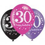 Happy Birthday 30 Pink léggömb, lufi 6 db-os