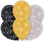 Happy Birthday Gold léggömb, lufi 6 db-os