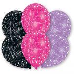 Happy Birthday Pink léggömb, lufi 6 db-os