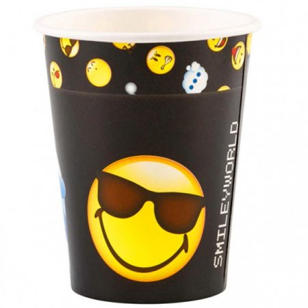 Emoji papír pohár 8 db-os 250 ml