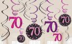 Happy Birthday 70 Szalag dekoráció 12 db-os szett