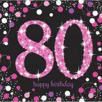Happy Birthday 80 Pink szalvéta 16 db-os 33*33 cm