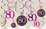 Happy Birthday 80 Szalag dekoráció 12 db-os szett