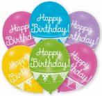 Happy Birthday Bunting léggömb, lufi 6 db-os 11 inch (27,5cm)