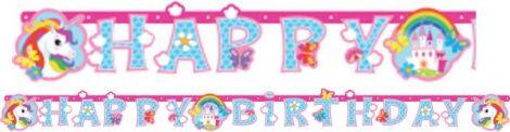 Unikornis Happy Birthday felirat 179 cm
