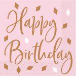 Happy Birthday Rose Gold szalvéta 16 db-os 33*33 cm