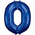 Óriás 0-ás szám Fólia lufi, Blue 88*66 cm