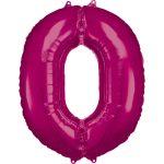 Óriás 0-ás szám Fólia lufi, Pink 88*66 cm