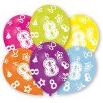Happy Birthday 8 léggömb, lufi 6 db-os
