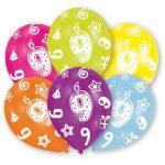 Happy Birthday 9 léggömb, lufi 6 db-os