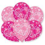 Happy Birthday Girl léggömb, lufi 6 db-os