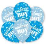 Happy Birthday Boy léggömb, lufi 6 db-os