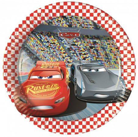 Disney Cars 3, Verdák Papírtányér 8 db-os 19,5 cm