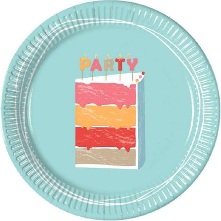 Birthday cake, Születésnapi torta Papírtányér 8 db-os 23 cm