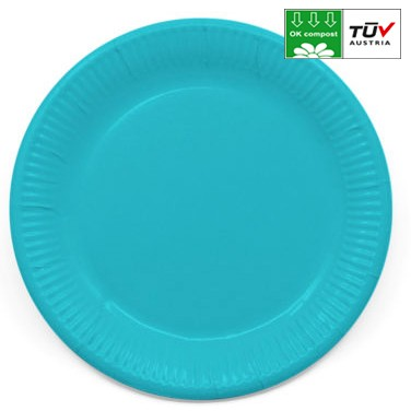 Környezetbarát Papírtányér 8 db-os 23 cm Turquoise